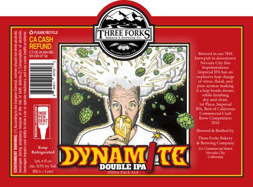 Dynomite Double beer label illustration