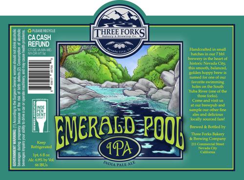 Emerald Pool beer label illustration.