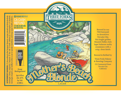 Mother's Beach Blonde beer label illustration