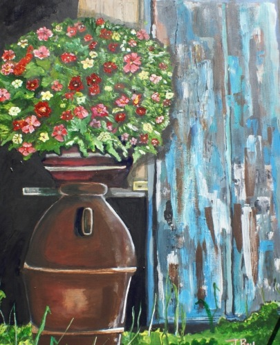 Brown Vase / Blue Door