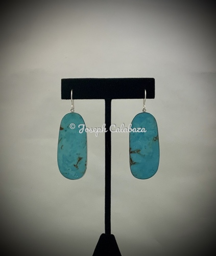 Sterling Silver Wrapped Turquoise Slab Earrings