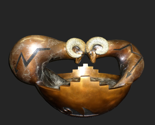 Share - The Rams by Jeff Roller Pottery & Sculpture