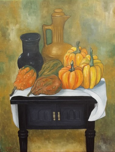Still Life With Pumpkins And Gourds by Joseph Ray York