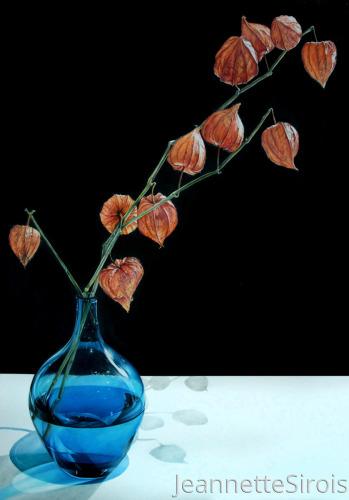 Blue Vase with Lantern Plant