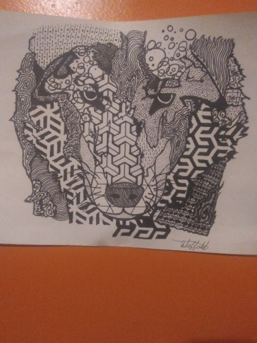 Geometric wolf by Cosmixart