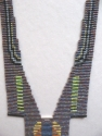 Contemporary loom woven bead necklace made with Japanese delica seed beads. (thumbnail)