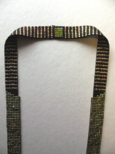 Large neckpiece made from Japanese square cut glass seed beads with metallic finish, minimalist style (large view)