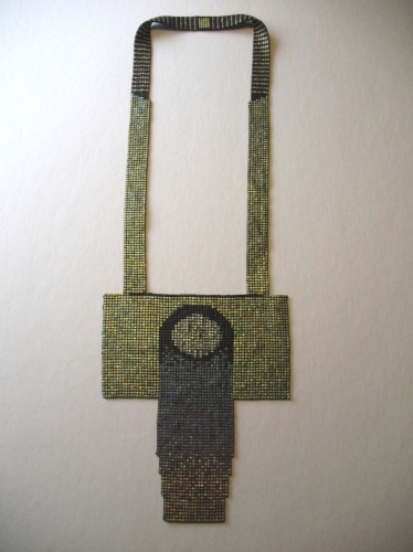 Large neckpiece made from Japanese square cut glass seed beads with metallic finish, minimalist style