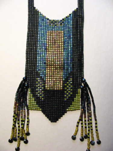 Loom woven bead necklace with side fringe. Made from Japanese square cut glass seed beads (large view)