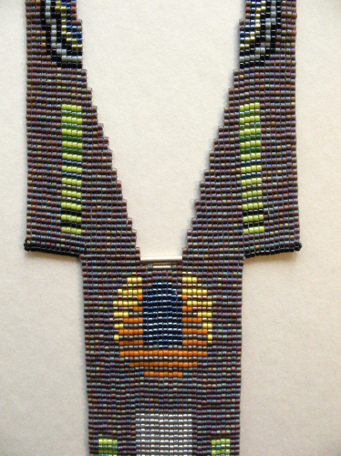 Contemporary loom woven bead necklace made with Japanese delica seed beads.