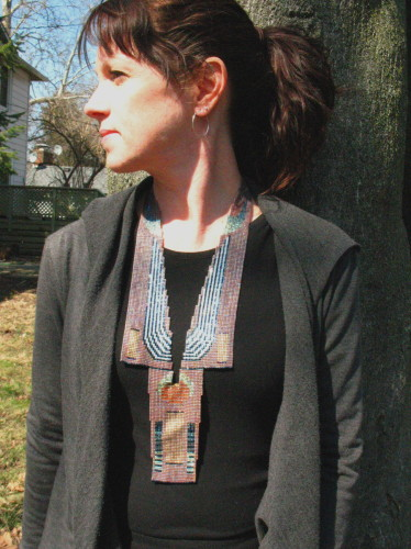 Large loom woven bead neck piece made with Japanese square cut glass seed beads. (large view)