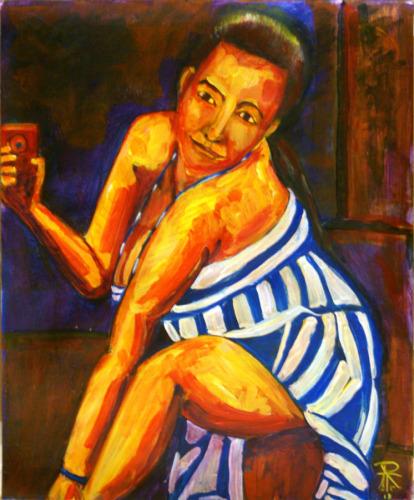 Selfie #2: Portrait of Becky in Blue Striped Dress