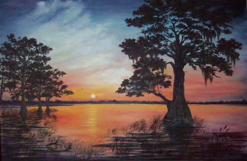 Blue Cypress Sunset (large view)
