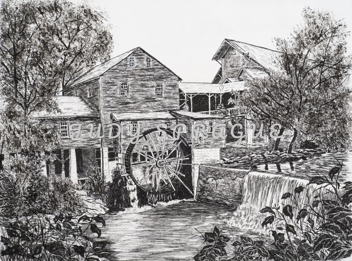 Drawing Quot Old Mill Pigeon Forge Quot Original Art By Judy