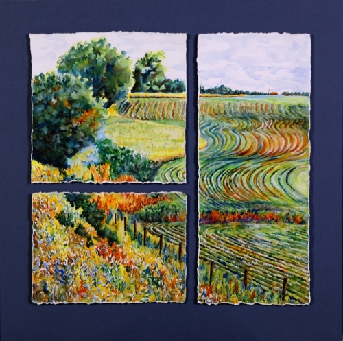 Rhythms on Blue by Judy Thompson Watercolors