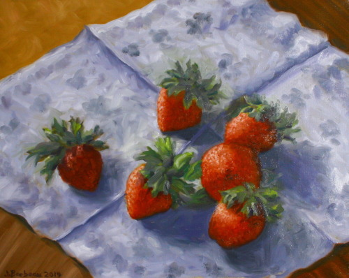 Strawberries in January by Julie Barbeau