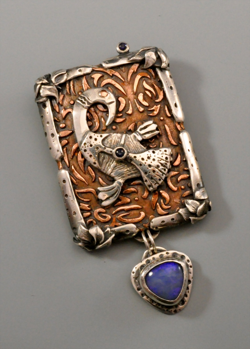 Sterling Silver, Copper, Opal, Sapphire (large view)