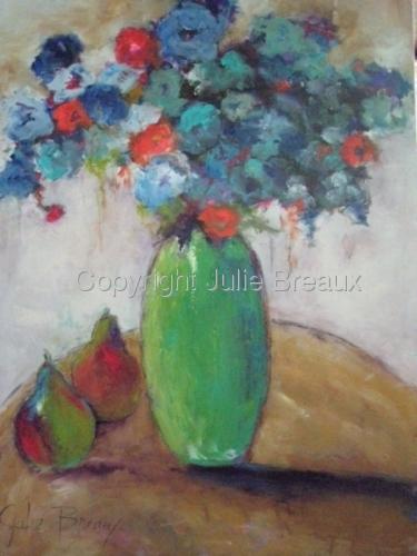 Blue Flowers Green Vase