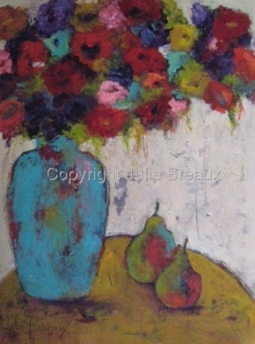 Red Flowers Turquoise Vase
