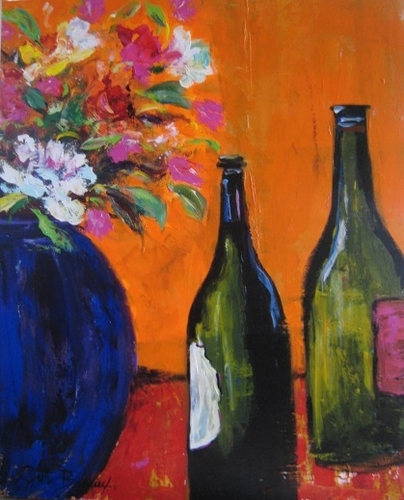 Blue Vase and Wine