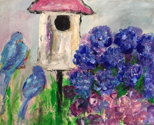Bluebirds and Hydrangeas