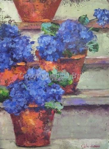 Blue Hydrangeas on Steps