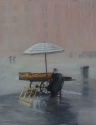 Lonely fruit seller in Italian piazza, sitting by her friut stand in the rain (thumbnail)