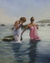 Women bathing in the serene waters off the coarst of Spain. Setting is early 20th century. (thumbnail)