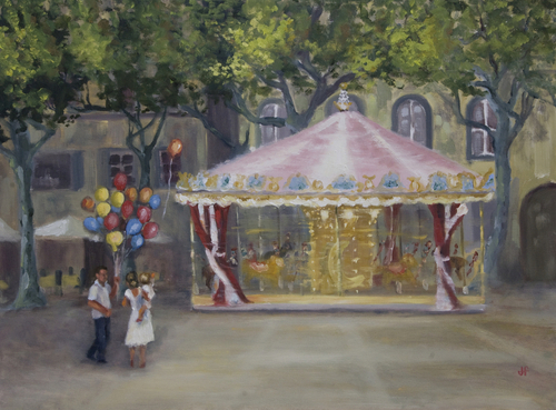 Carousel in the Piazza by Julie Fornaci Fine Art