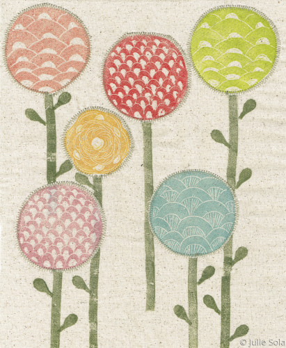 Flower pods on fabric