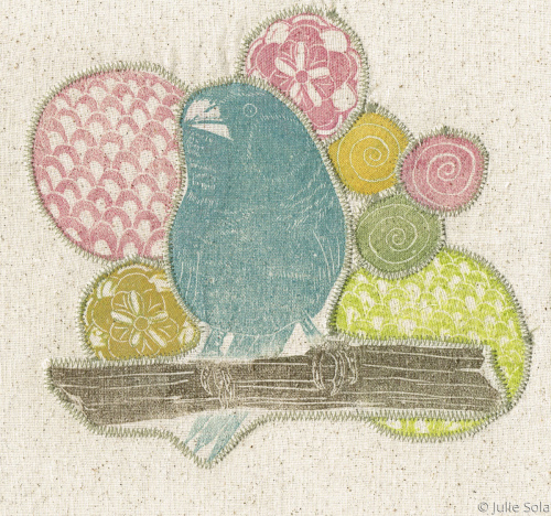 Fabric blue budgie