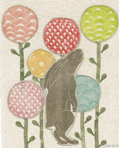 Rabbit in field fabric