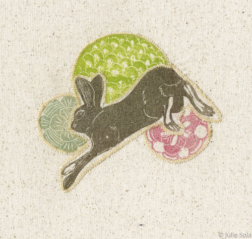 Fabric hare and flowers fabric