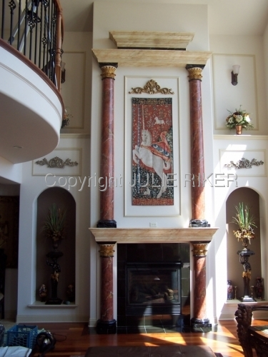 Marblling columns on fireplace surround
