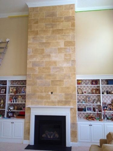 Faux Limestone Chimney