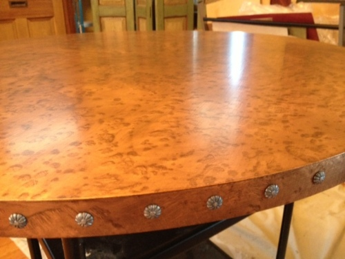 hammered copper finish on table top