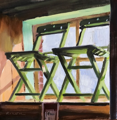 Green Chairs In A Window
