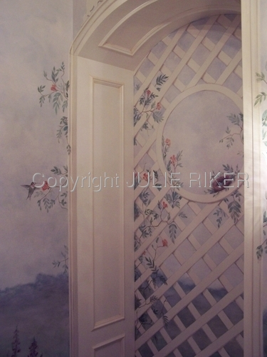 Powder room mural with painted trellis
