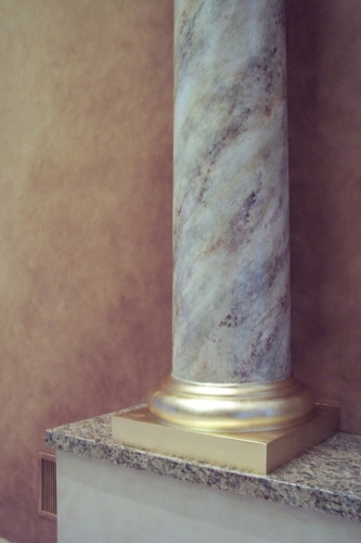 Faux painted column and gold leafed base
