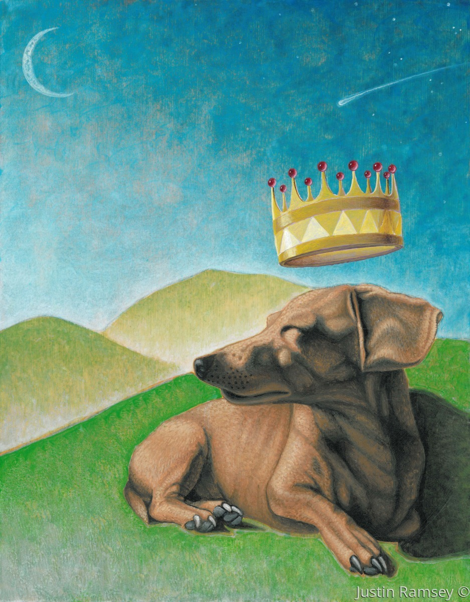 This is an acrylic painting of a dachshund with a floating crown and mountains on birch panel. (large view)