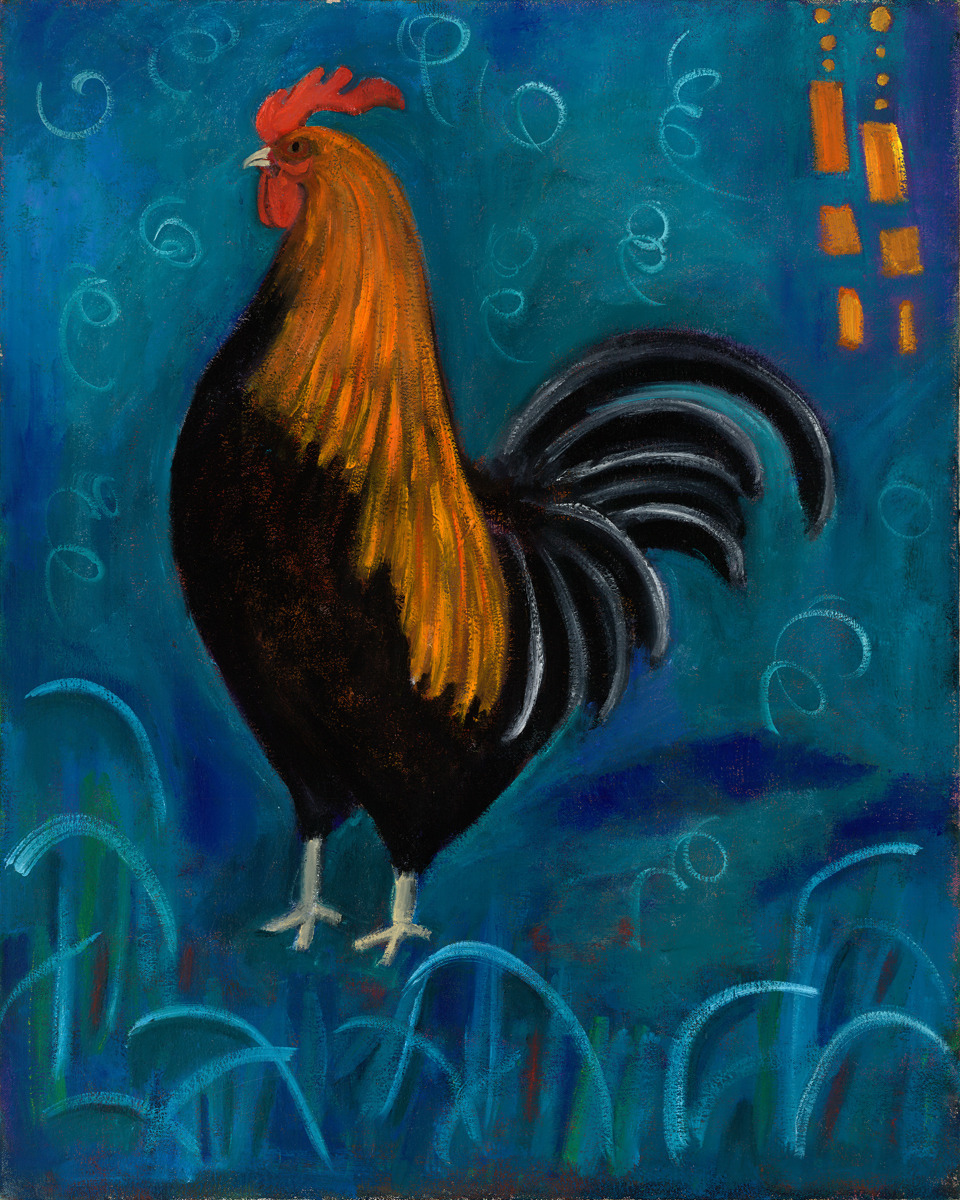 rooster in blue (large view)
