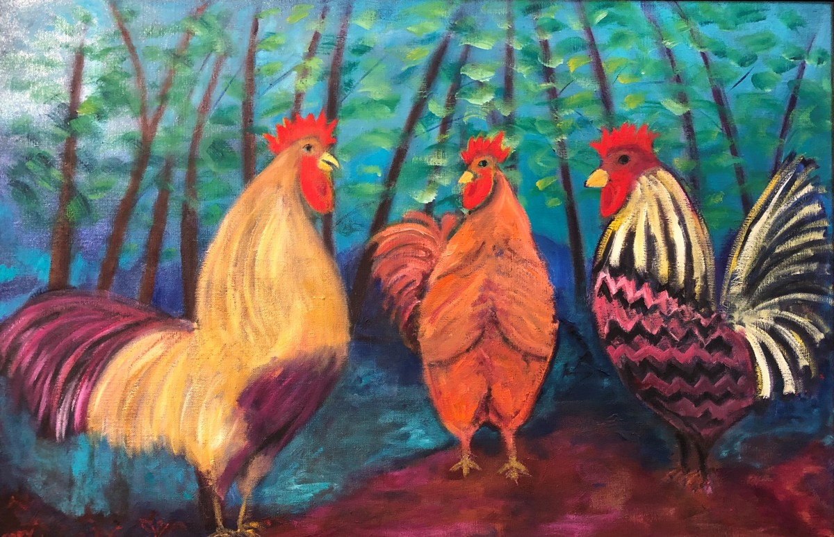 three roosters (large view)