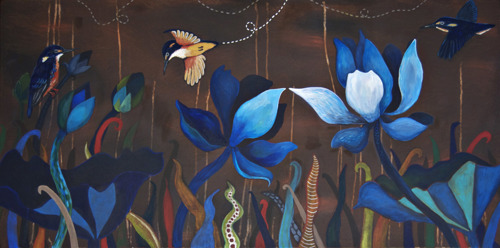 Kakadu Study: Azure Kingfisher & Lotus
