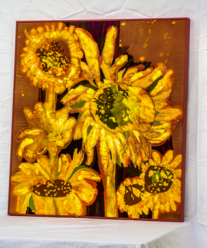 Sunflower batik by Original Artwork by Genevieve Taunis Wexler