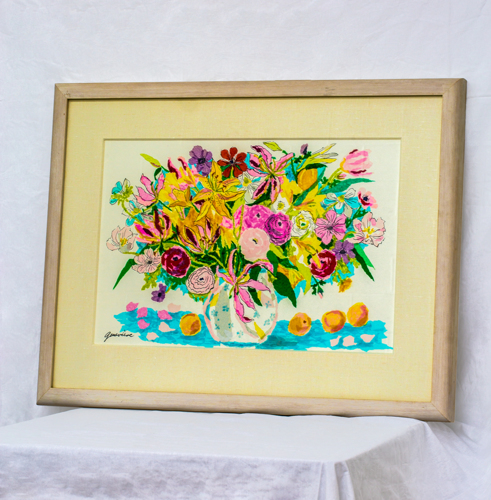 Tissue collage flower bouquet