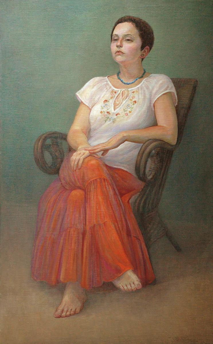 """""""Sarah in Orange Skirt"""" (large view)"""