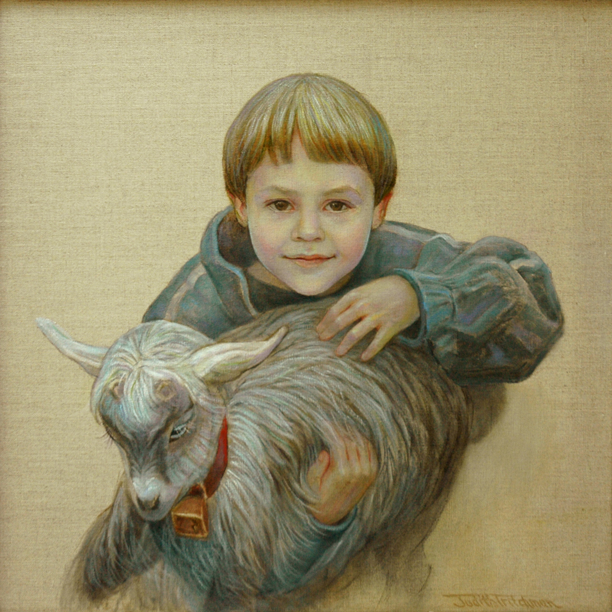 OIl painting on natural linen of a young boy filled with joy and expectation about  making friends with a small goat. (large view)