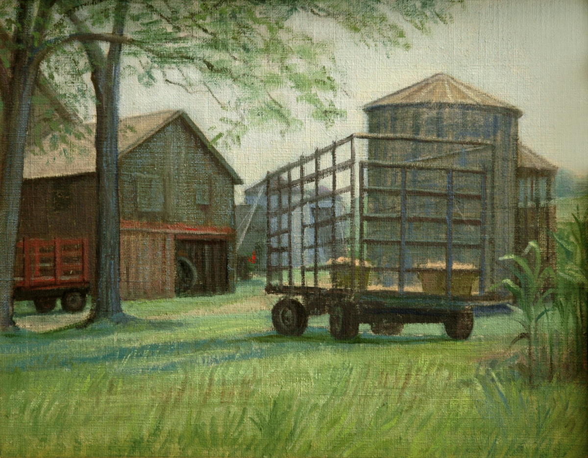 """Unloading the Hay Wagon"" (large view)"