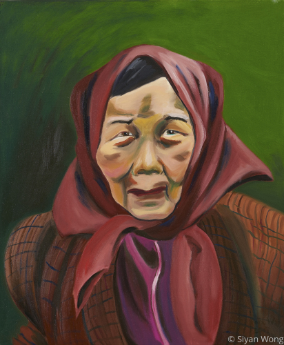 Female Canner With Scarf