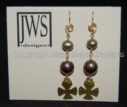 SOLD - Carpathian Cross Earrings